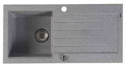 SAPHO - Granitový zabudovateľný drez s odkvapom 86x43,5 cm, sivá (GR1603)