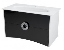 SAPHO - AVEO umývadlová skrinka 96,5x58x49cm, biela/čierna (AV100)
