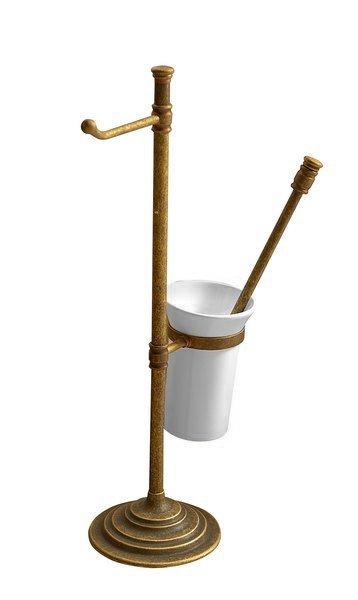 SAPHO - Stojan s držiakom na toaletný papier a WC kefou, bronz (MC132)