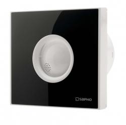 SAPHO - LITE kúpeľňový ventilátor axiálny, 15W, potrubie 100mm, cierna, časovač (LT104)