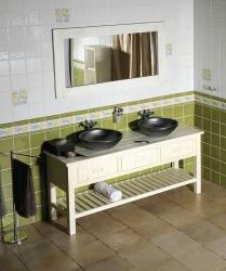 SAPHO - Kúpeľňový set BRAND 160, dve umývadlá, starobiela (KSET-013)