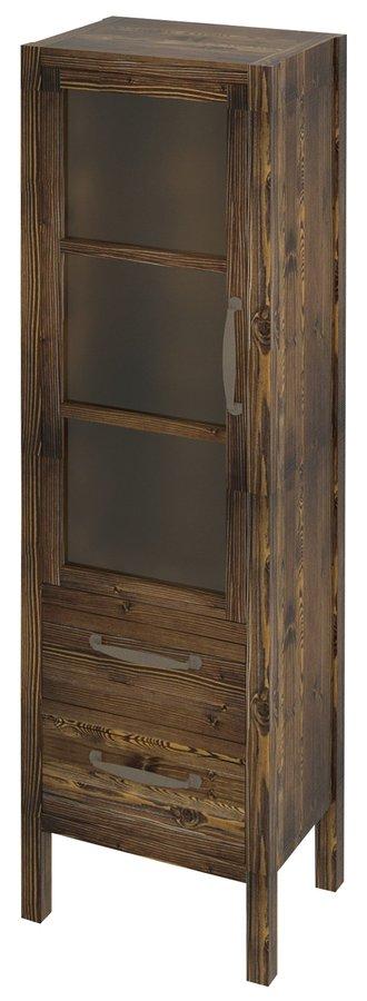 SAPHO - WESTERN skrinka 2 šuplíky, presklené dvierka 40x140x30cm, ľavá, morený smrek (WR400)