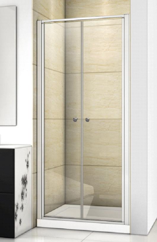 Aquatek - Family B02 CHROM Sprchové dveře do niky dvoukřídlé, 87-91 x 190cm, výplň sklo - grape (FAMILYB0290-19)