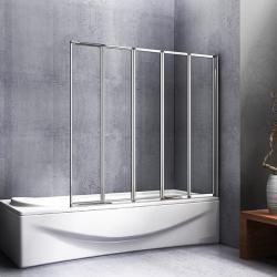 H K - Vanová zástěna pětidílná V5 120, chrom, čiré sklo (SE-V5 120)
