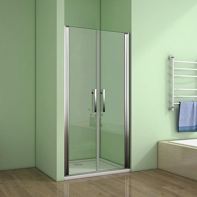 H K - Sprchové dveře MELODY D2 140 dvoukřídlé 136-140 x 195 cm, čiré sklo (SE- MELODYD2140)