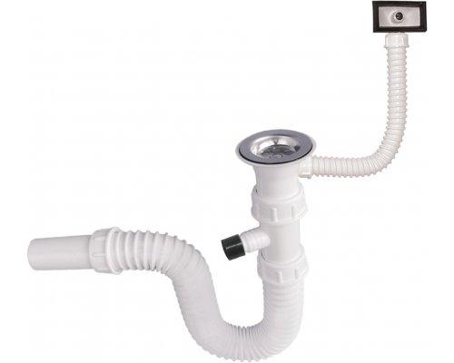 """ARTTEC - Sifon dřezový flexi 5/4"""" krátký závit s přepadem a vývodem pro myčku (SOR01801)"""