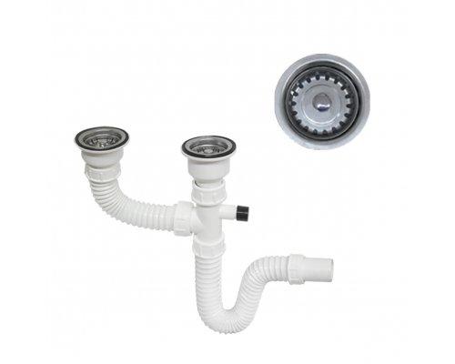 ARTTEC - Sifon dřezový flexi DUO EURO průměr 60 s vývodem pro pračku (SOR01821)