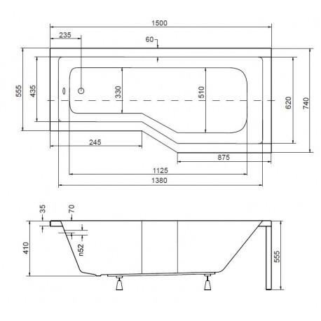 Asymetrická vana Hopa ESTE - 1500 x 740 mm, objem 130 l, Pravé, včetně panelu (VANEST15P+VANEST15C+VANNOZ)