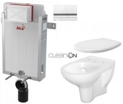 ALCAPLAST  Renovmodul - predstenový inštalačný systém s bielym / chróm tlačidlom M1720-1 + WC CERSANIT ARTECO CLEANON + SEDADLO (AM115/1000 M1720-1 AT2)