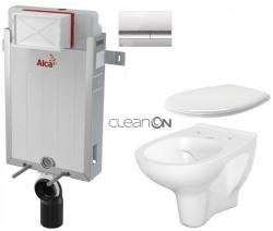 AKCE/SET/ALCAPLAST - SET Renovmodul - predstenový inštalačný systém + tlačidlo M1721 + WC CERSANIT ARTECO CLEANON + SEDADLO (AM115/1000 M1721 AT2)