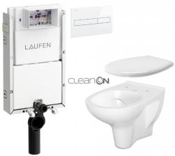 LAUFEN Podomít. systém LIS TW1 SET s bielym tlačidlom + WC CERSANIT ARTECO CLEANON + SEDADLO (H8946630000001BI AT2)