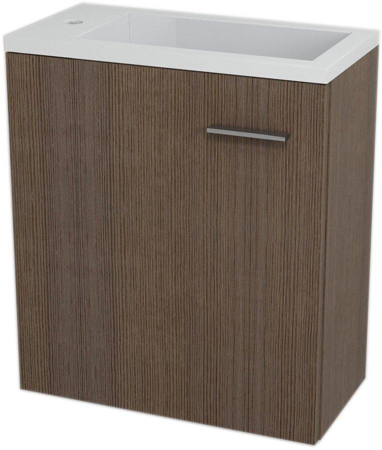 SAPHO - LATUS III umývadlová skrinka 45x50x23,2cm, borovica rustik + umývadlo liaty mramor 55510 (55547-SET)