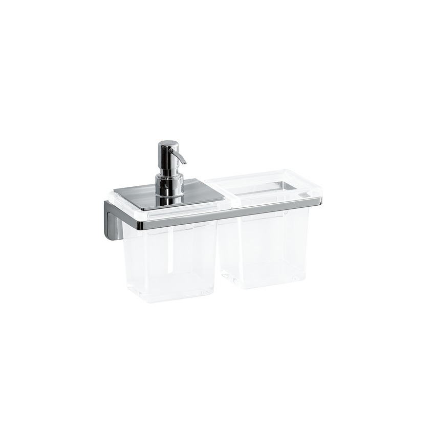 Laufen - LB3 Držák na sklenici a zásobník na mýdlo, sklo/chrom (H3846850040001)