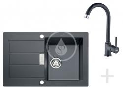 FRANKE - Sety Kuchynský set T26, tectonitový drez SID 611-78, čierna + batéria FP 9900, čierna (114.0366.030)