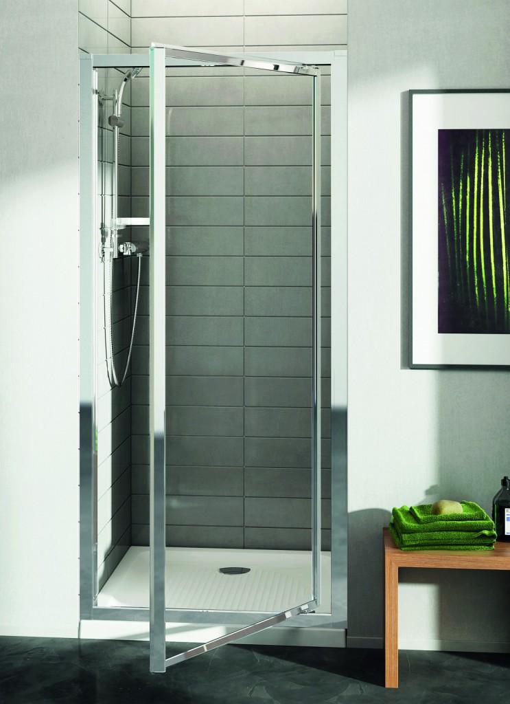 IDEAL STANDARD - Connect Sprchové dvere pivotové 90 cm – matné sklo, silver bright (lesklá strieborná) (T9844EO)