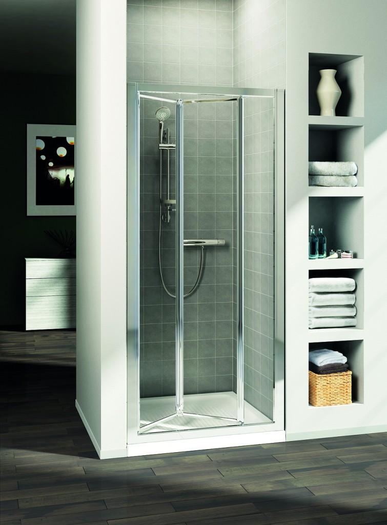 IDEAL STANDARD - Connect Sprchové dvere skladacie 90 cm – matné sklo, silver bright (lesklá strieborná) (T9862EO)