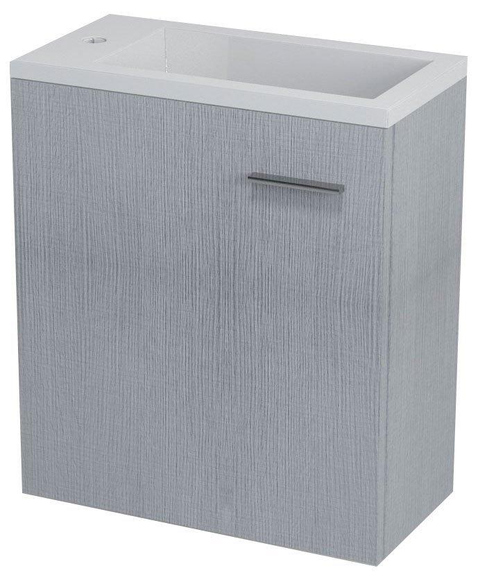 SAPHO - LATUS III umývadlová skrinka 45x50x23,2cm, dub strieborný + umývadlo liaty mramor 55510 (LT310-SET)