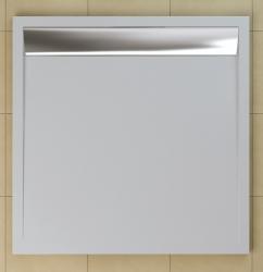 SanSwiss vanička ILA čtverec bílá 90x90x3 cm kryt aluchrom WIQ0905004 (WIQ0905004)