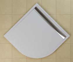 SanSwiss vanička ILA čtvrtkruh bílá 100x100x3,5 cm kryt aluchrom WIR551005004 (WIR551005004)
