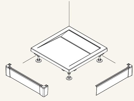 SanSwiss panel predné - L pre štvorcovú vaničku biela 900 x 900 mm PWIL09009004 PWIL09009004
