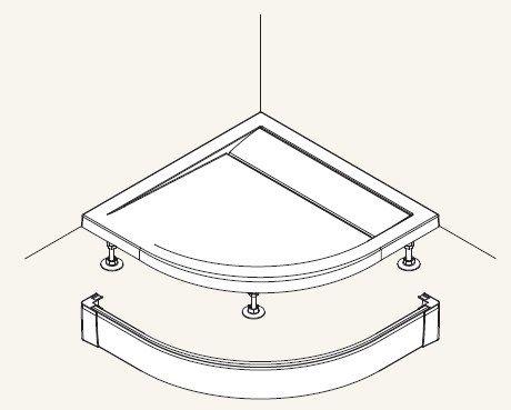 SanSwiss panel prednej pre štvrťkruhovú vaničku biela 800 mm PWIR5508004 PWIR5508004