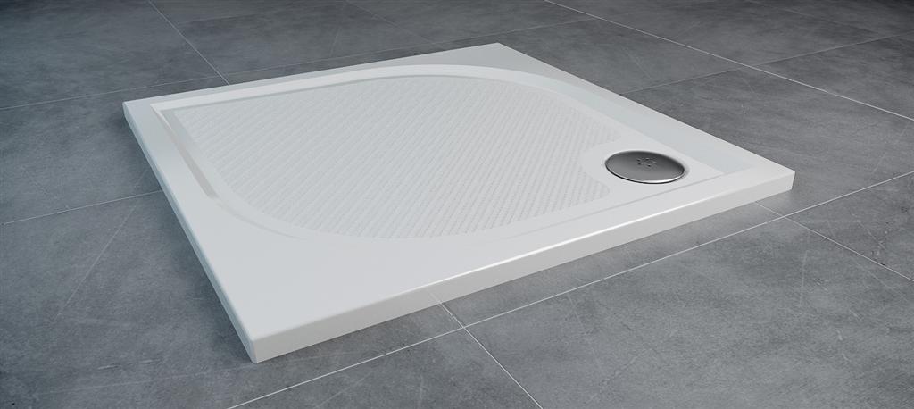 SanSwiss MARBLEMATE sprchová vanička bílá,čtverec 80x80x3 cm,800/30, (WMQ080004)