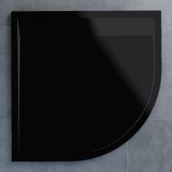 SanSwiss vanička ILA čtvrtkruh černý granit 90x90x3 cm kryt černý matný WIR5509006154 (WIR5509006154)