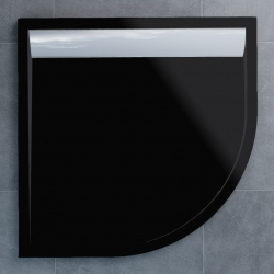 SanSwiss vanička ILA čtvrtkruh černý granit 100x100x3,5 cm kryt aluchrom WIR5510050154 (WIR5510050154)