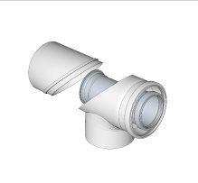 BRILON - Komín Serio koleno s kontrolním otvorem koaxiální DN125/80  hliník/plast   52103203 (52103203)