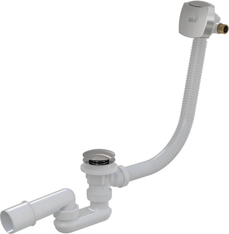 Sifón vaňový napúšťací CLICK CLACK kov-chróm 80cm pre hrubostenné vane, zátka d70mm guľatá ALCAPLAST A509KM-80 A509KM-80