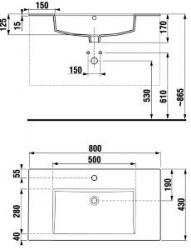 JIKA - Cube náhradní umyvadlo 80x43 s otvorem pro baterii (H8145640001043)