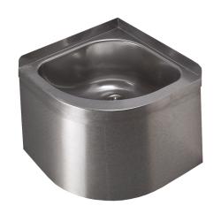 Sanela SLUN 11 Nerezové závěsné rohové umyvadlo s opláštěním, bez otvoru pro baterii, včetně sifonu a upevňovací sady, materiál CrNi 18/10 (AISI-304), povrch matný, vnější rozměry 360 x 360 x 280 mm (SL 93110)