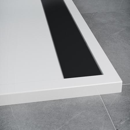 SanSwiss vanička ILA čtvrtkruh bílá 100x100x3,5 cm kryt černý matný WIR551000604 (WIR551000604)
