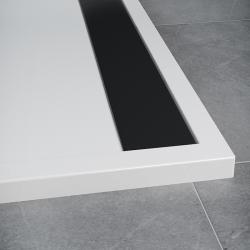 SanSwiss vanička ILA čtvrtkruh bílá 80x80x3 cm kryt černý matný WIR550800604 (WIR550800604)