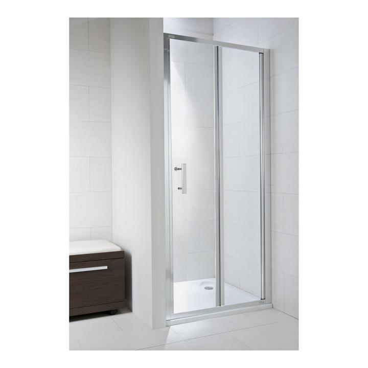 JIKA CUBITO pure spr.dveře 90/195, sklo Transparent, skládací, stříbrný lesklý profil 2.5524.2.002.668.1 H2552420026681 (H2552420026681)