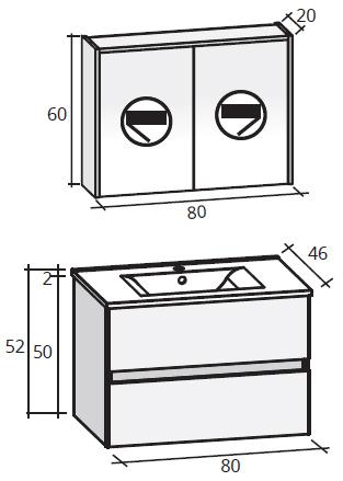 RIHO PORTO SET 27 Bílá-lesk 80cm, umyvadlo,skříňka pod umyvadlo,zrcadlová skříňka FPO080DP0DP0S27 (FPO080DP0DP0S27)