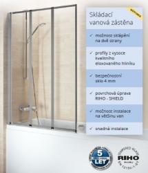 RIHO ALTA 100 vanová zástěna, elox/sklo+Riho Shield  výška 140cm GI0100100 (GI0100100)