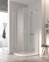 Kermi OSIA stříbrná lesk čtvrtkruh 900/2000 R550 čiré sklo s OsiaClean (otvírání dveří ven)  OSE5509020VPK (OSE5509020VPK)