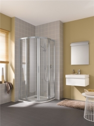 KERMI - Cada XS stříbrná lesk čtvrtkruh (posuvné dveře), R550 1010/2000 čiré sklo s CadaClean CCR5510120VPK (CCR5510120VPK)