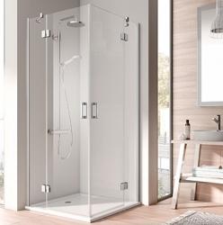 Kermi OSIA stříbrná lesk 2D RV levá 1/2 (otočné dveře) 900/2000 čiré sklo s OsiaClean OSESL09020VPK (OSESL09020VPK)