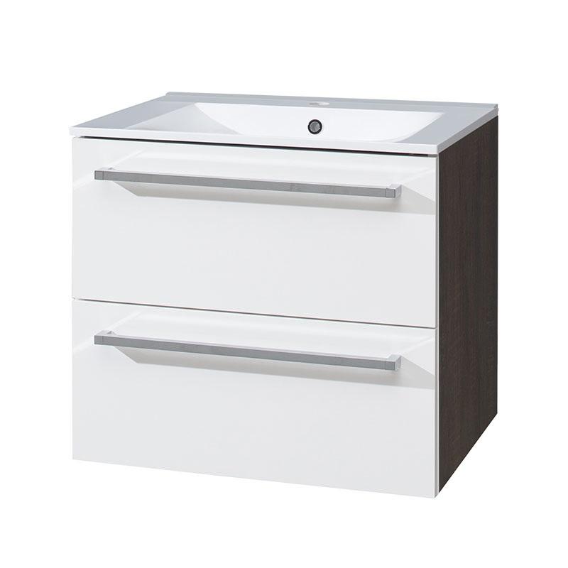 MEREO - Koupelnová skříňka s keramickým umyvadlem 60 cm, spodní, bílá/schoko (CN680)