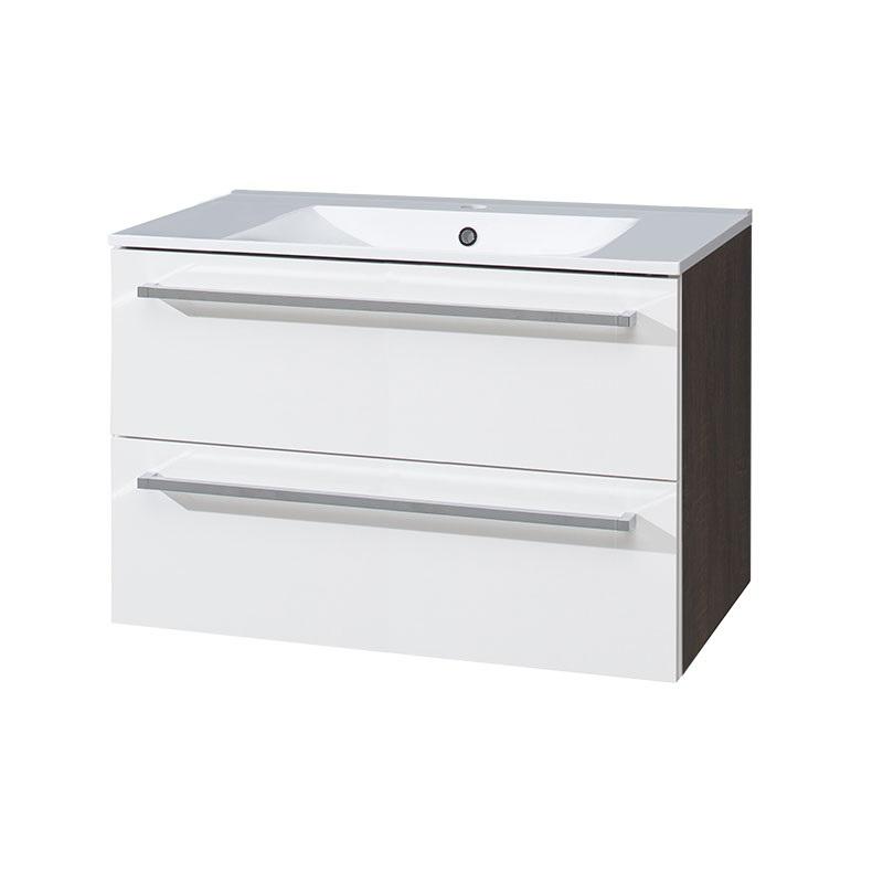 MEREO - Kúpeľňová skriňka s keramickým umývadlom 80 cm, biela/schoko (CN681)