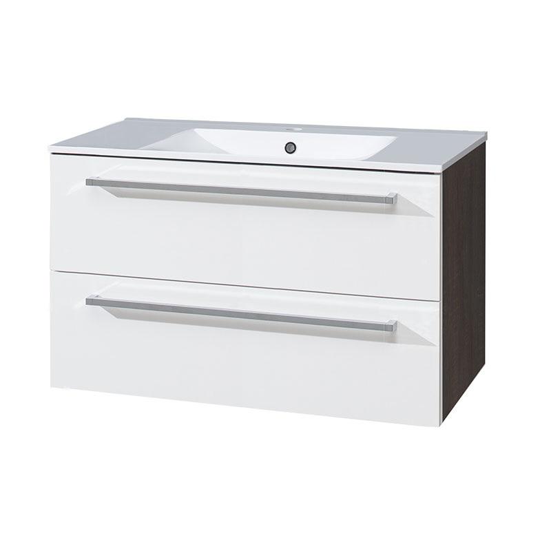 MEREO - Kúpeľňová skriňka s keramickým umývadlom 100 cm, biela/schoko (CN682)