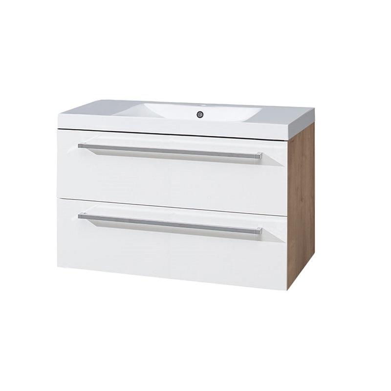 MEREO - Kúpeľňová skriňka s umývadlom z liateho mramoru, 100 cm, biela/schoko (CN682M)
