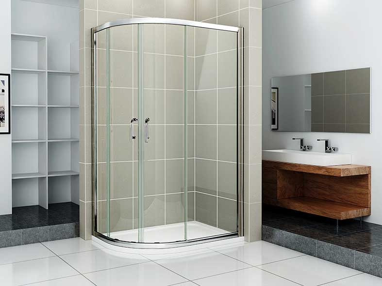 H K - Čtvrtkruhový sprchový kout RELAX S4 120x80 cm s posuvnými dveřmi včetně sprchové vaničky z litého mramoru- pravá varianta, výplň sklo - čiré (SE-RELAXS412080/THOR12080Q-R-06)
