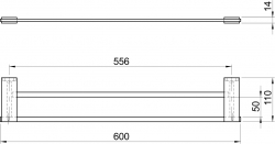 NOVASERVIS - Dvojitý držiak uterákov 600 mm Metalia 9 chróm (0925,0), fotografie 4/2