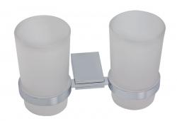 NOVASERVIS - Dvojitý držiak zubných kefiek a pasty sklo Metalia 9 chróm (0957,0)