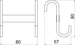NOVASERVIS - Dvojháčik na vykurovací rebr Metalia Drôtený program chróm (6001,0), fotografie 4/2