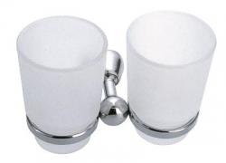 NOVASERVIS - Dvojitý držiak zubných kefiek a pasty sklo Metalia 3 chróm (6357,0)