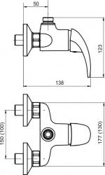 NOVASERVIS - Sprchová batéria horný vývod 150 mm Metalia 55 chróm (55062/1,0), fotografie 4/2